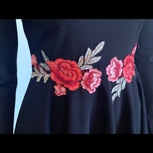 Mock neck dress with embroidered roses